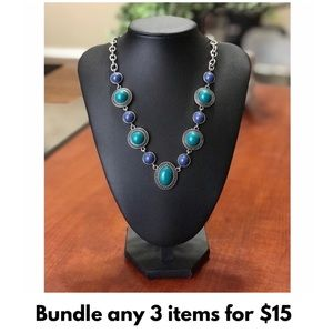 💥NEW‼️ Silver Studded Blue & Green Bead Necklace